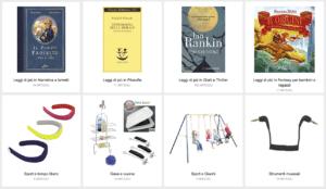 libri e oggetti tecnologici su Amazon